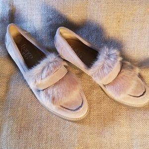 Franco Sarto beige slipons with faux fur trim